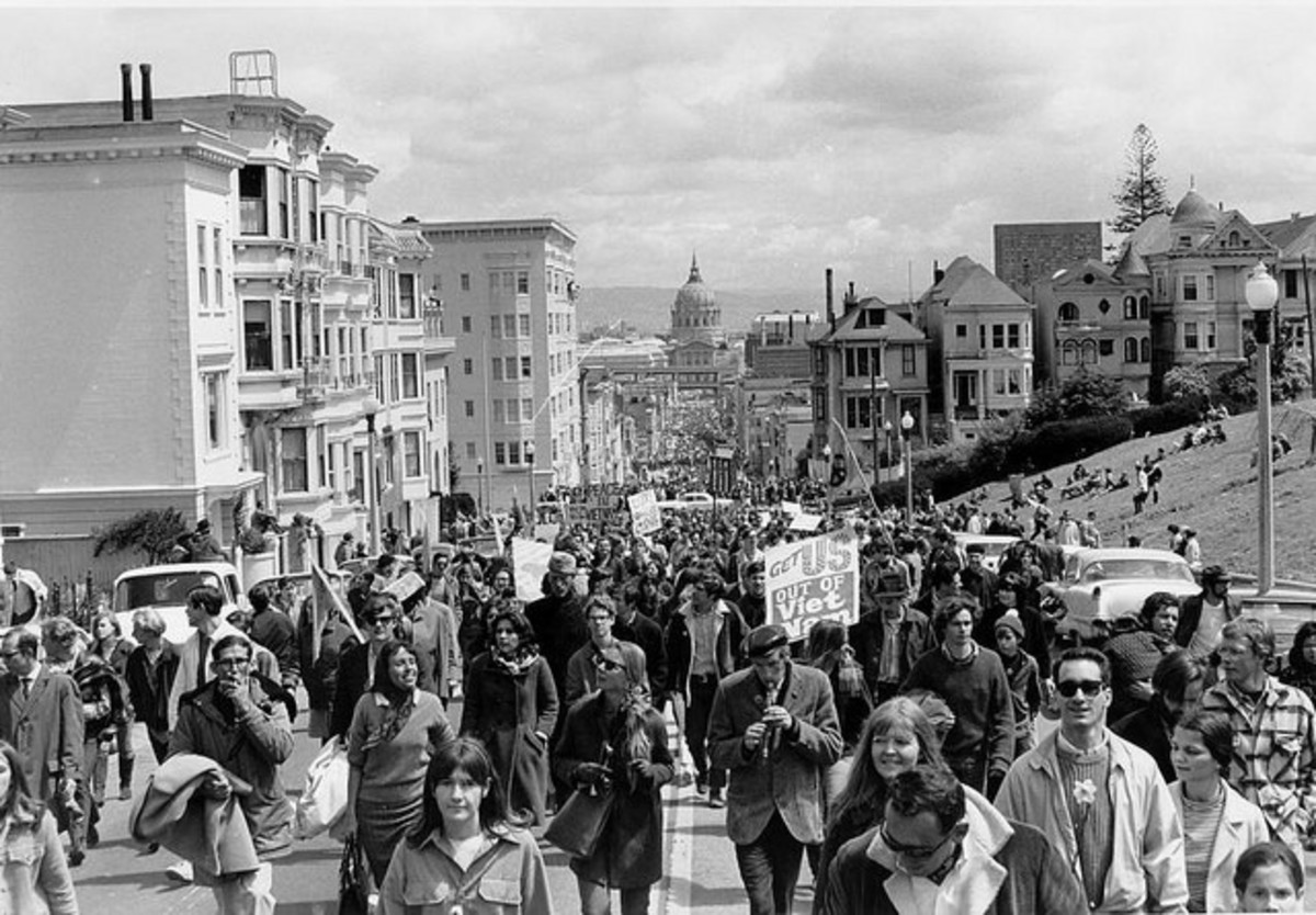 A Vietnam War protest march through San Francisco in 1967. These songs accompanied many of these marches and protests, often at the gathering spot at the end of the march.