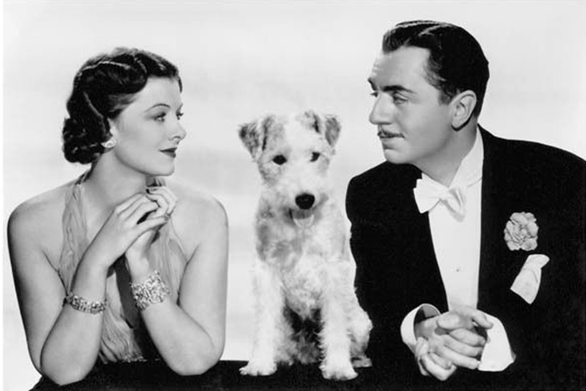 """Publicity photo for """"The Thin Man,"""" with Myrna Loy, Skippy, and William Powell, 1936"""