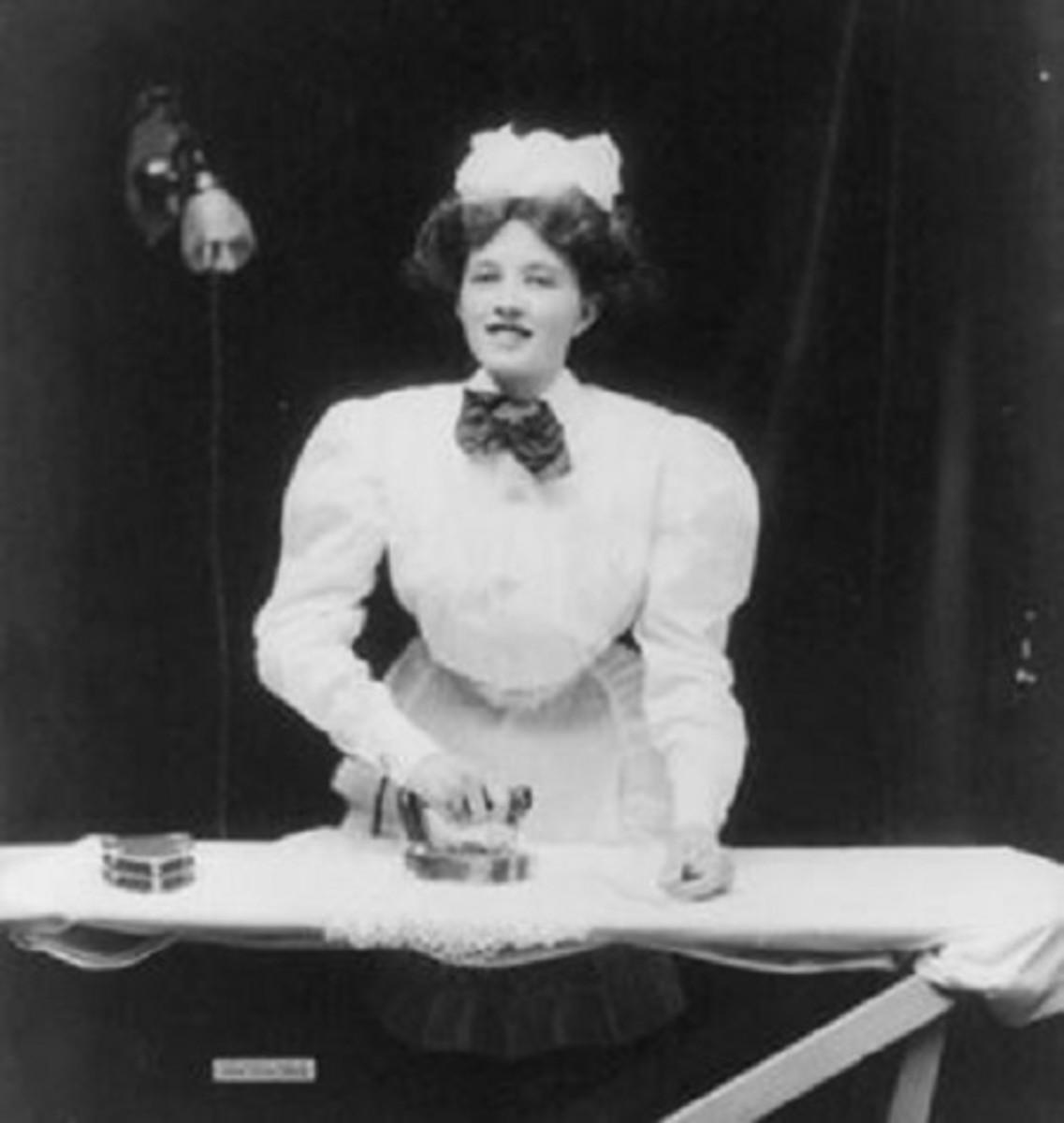 Housemaid Ironing Masters' Clothes-Circa 1912