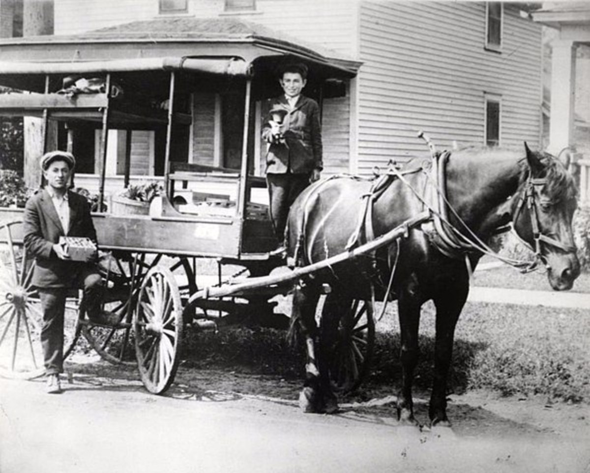David and Harry Silverman with their fruit peddling cart in St. Paul, MN.