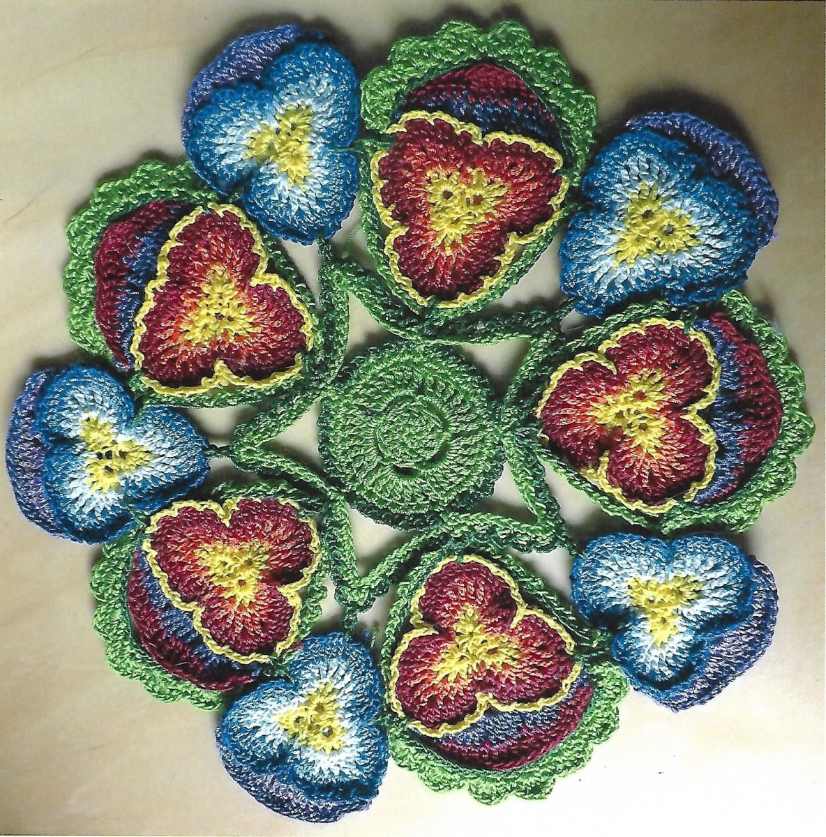 Crochet Doily Pattern: A Circle of Pansies