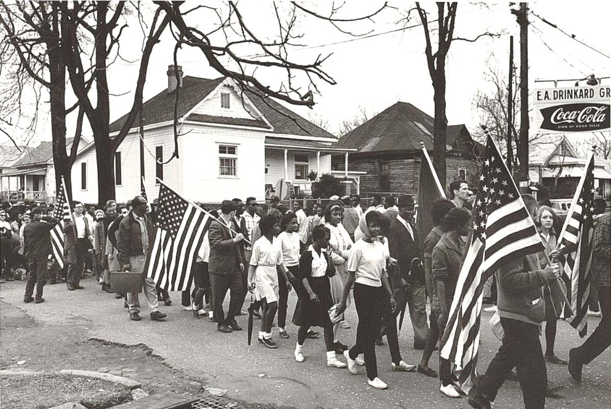 Civil Rights march from Selma to Montgomery, Alabama in 1965