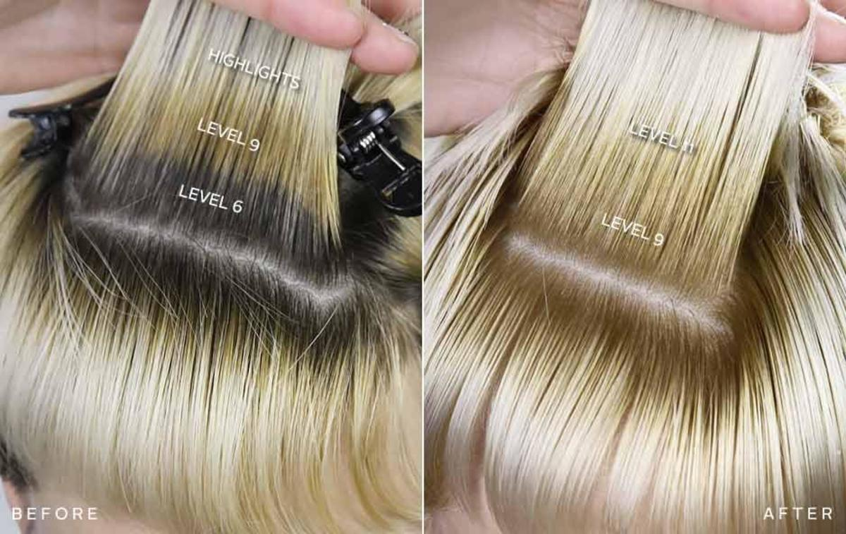 The results of using high lift hair color.