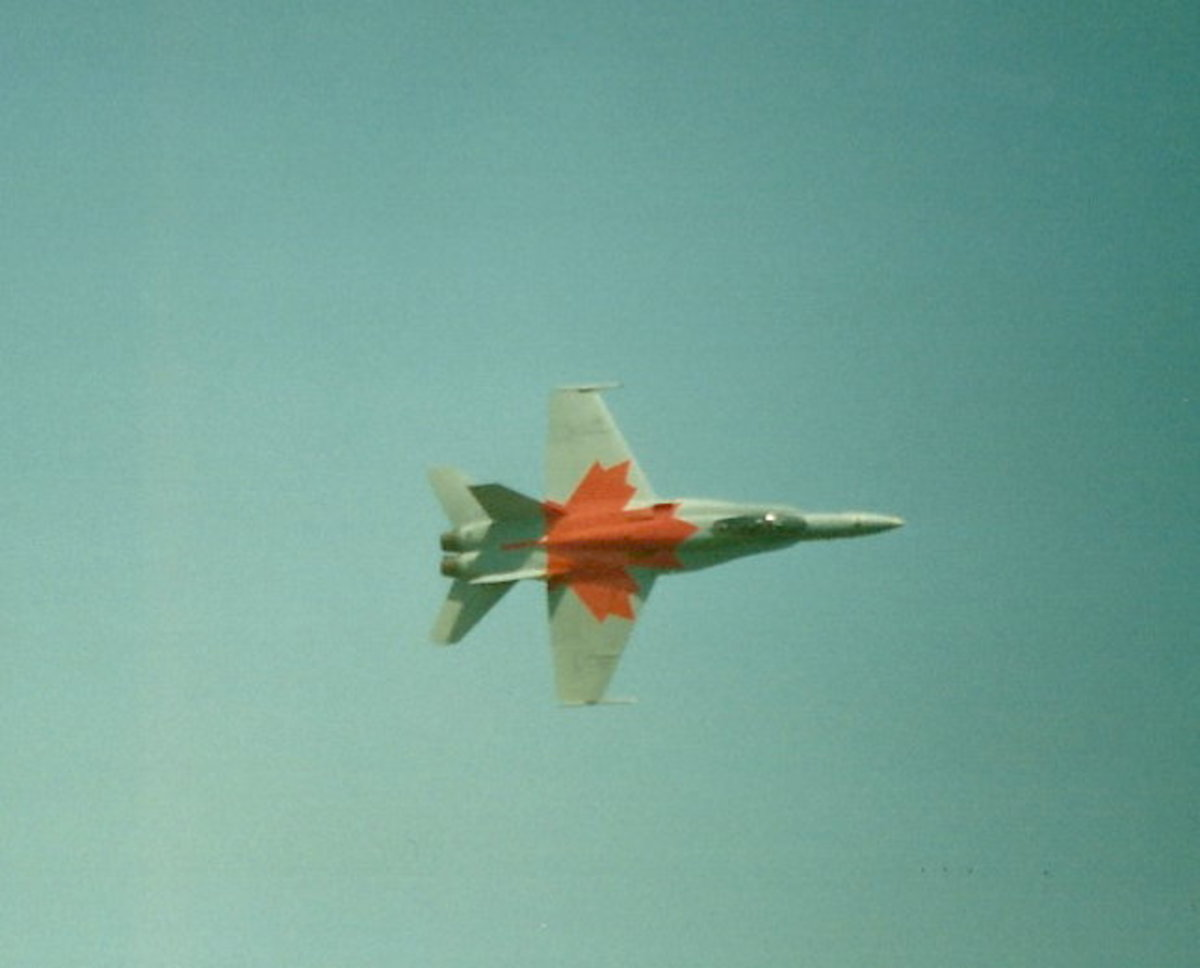 A Canadian Air Force CF-188 sporting the Maple Leaf at Andrews AFB, MD