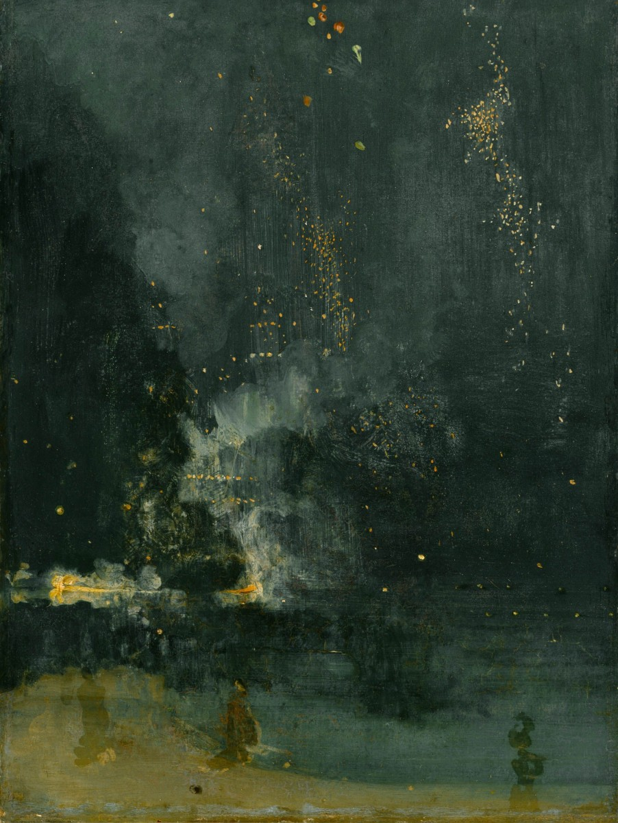 James Whistler: Nocturne in Black and Gold, The Falling Rocket Painting, oil on canvas from 1875.