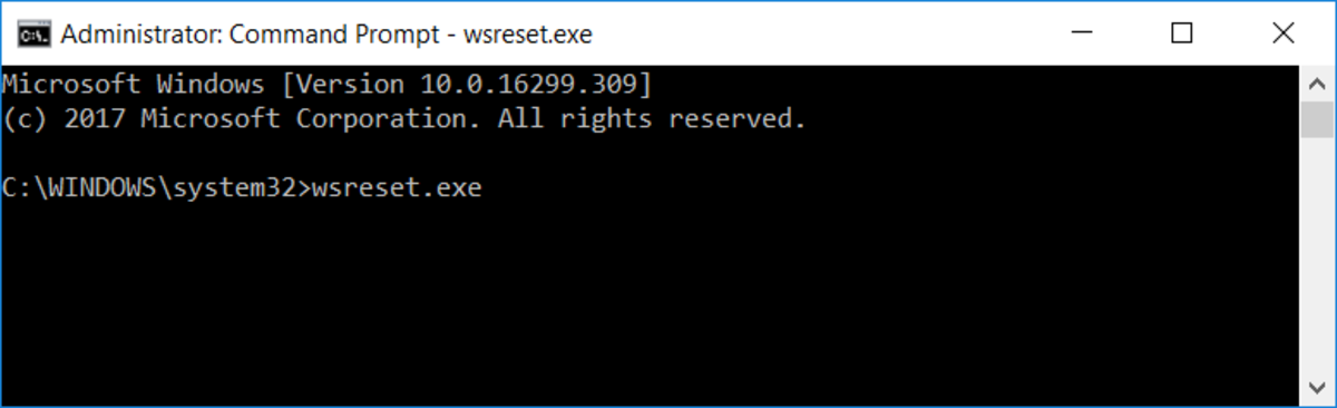 Running wsreset.exe in command prompt