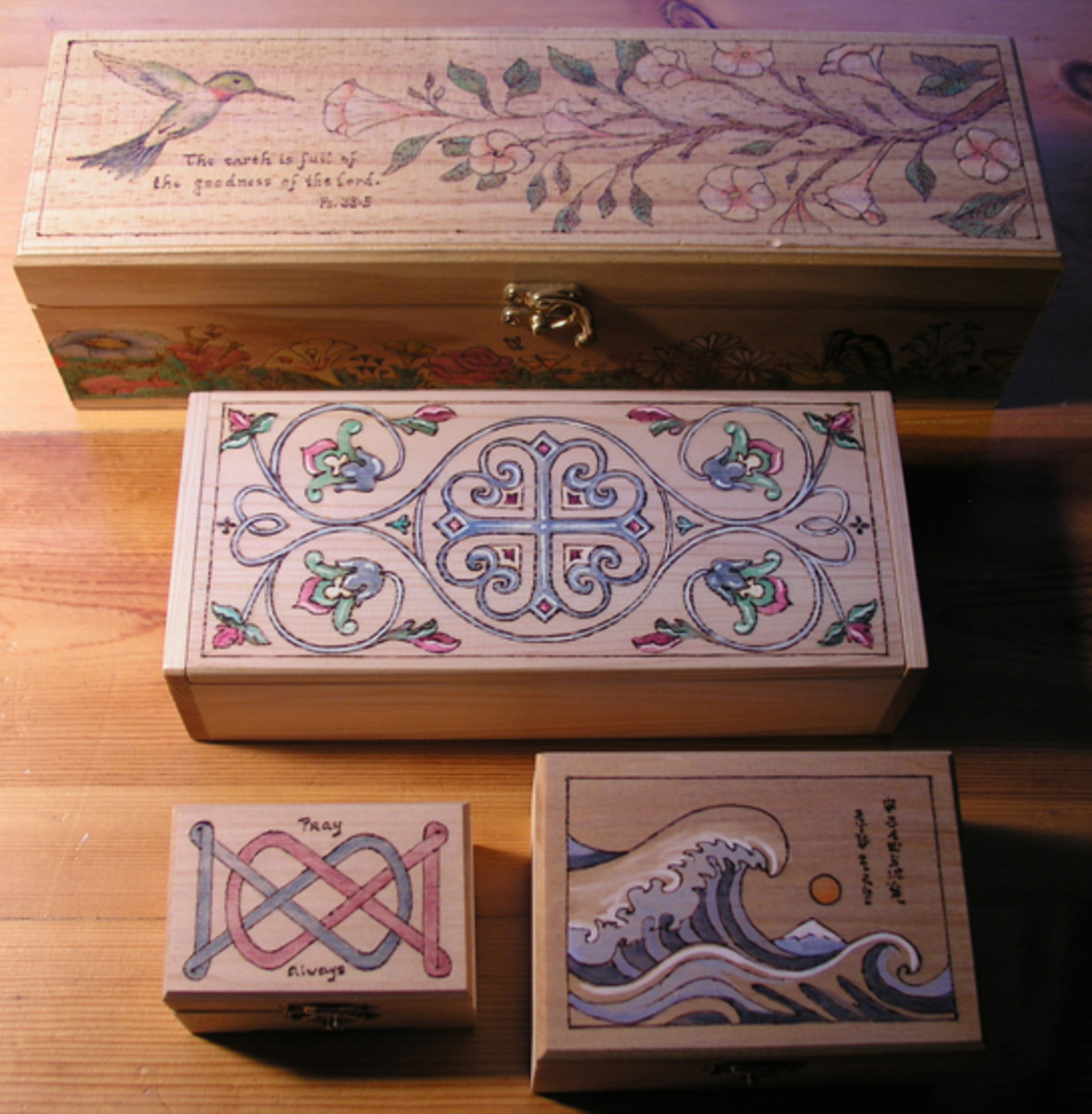 Various boxes decorated by the author.