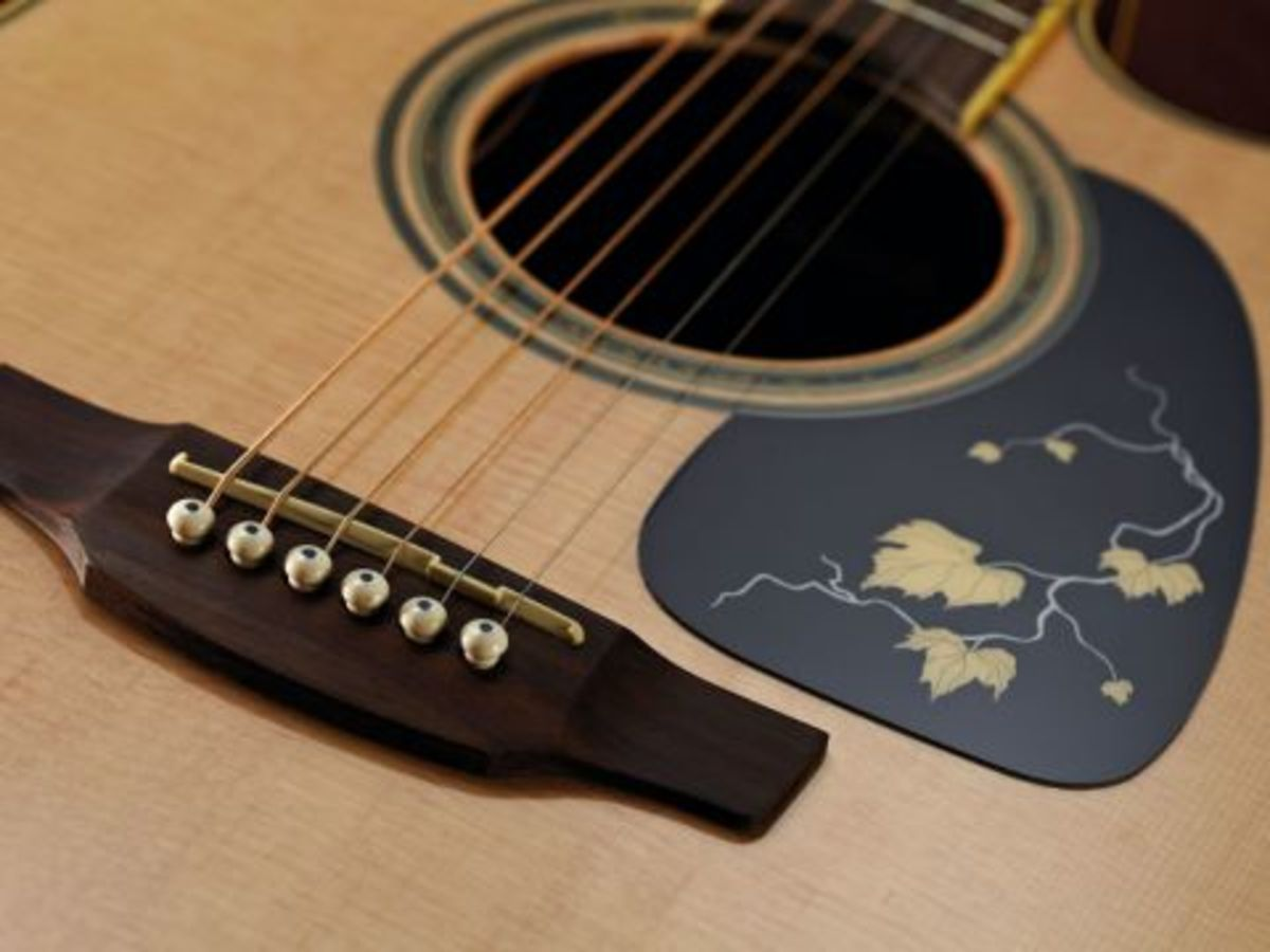 A look at the soundhole and pick-guard inlay on Takamine's 50th anniversary guitar.