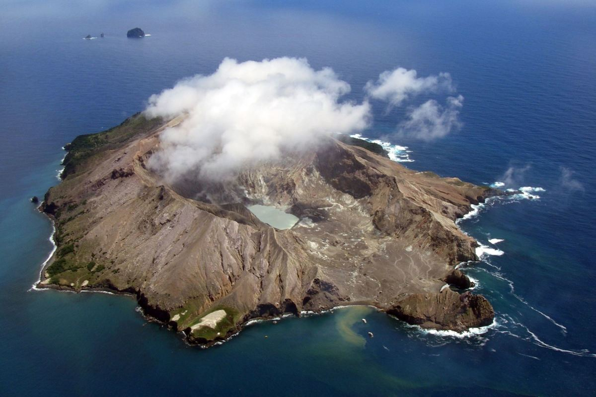 The 'target' White island, an active Volcano off the coast of New Zealand. They say if the Island is clouded in white, the don't worry, she's only erupting, If she isn't, then worry because she's about to let a big eruption off!