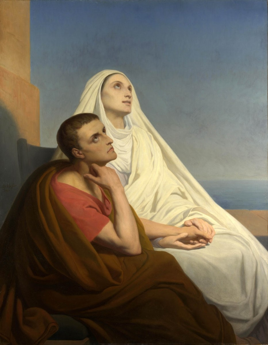 Augustine and his mother Monica. After living a life of sensuality as a young man, Augustine would return to the faith of his mother under the influence of Ambrose, the Bishop of Milan.