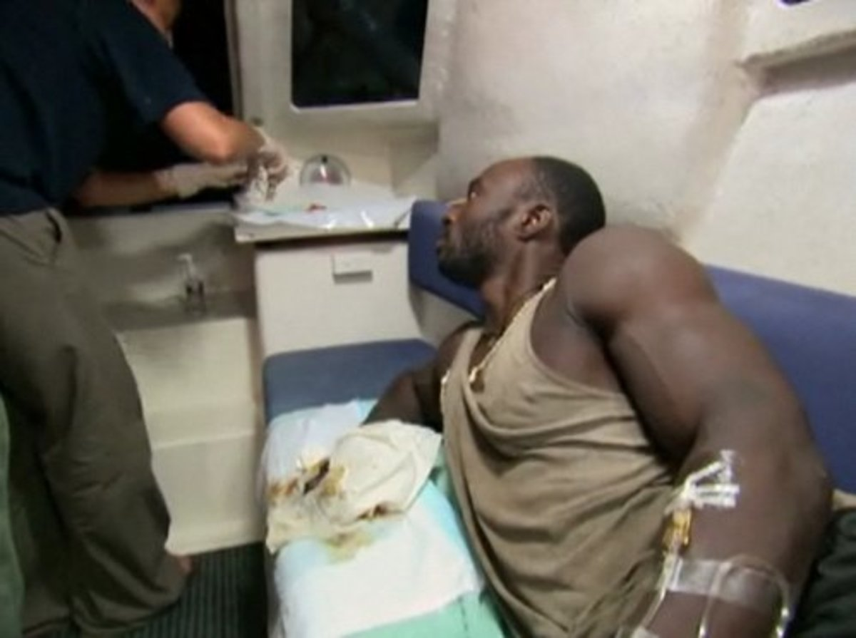 James getting his finger treated in the hospital during Survivor: Micronesia.