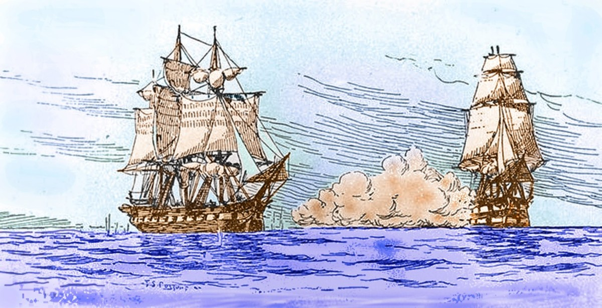 "HMS ""Leopard"" (right) fires upon the USS ""Chesapeake"" in 1807. The event, now known as the Chesapeake–Leopard Affair, angered the American populace and government and was a precipitating factor that led to the War of 1812."