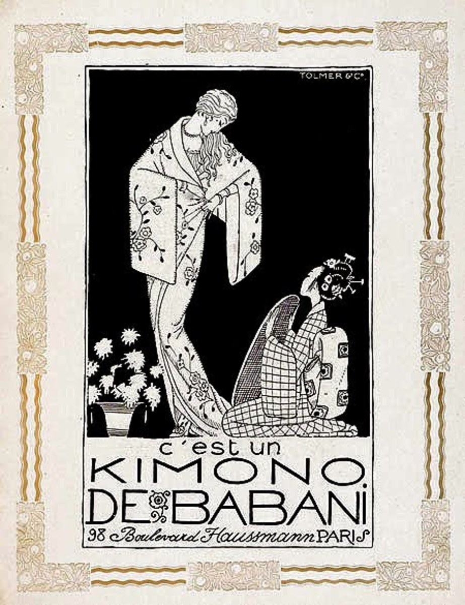 A French ad depicts a kimono clad Euopean woman in a dominant position above kneeling Japanese woman