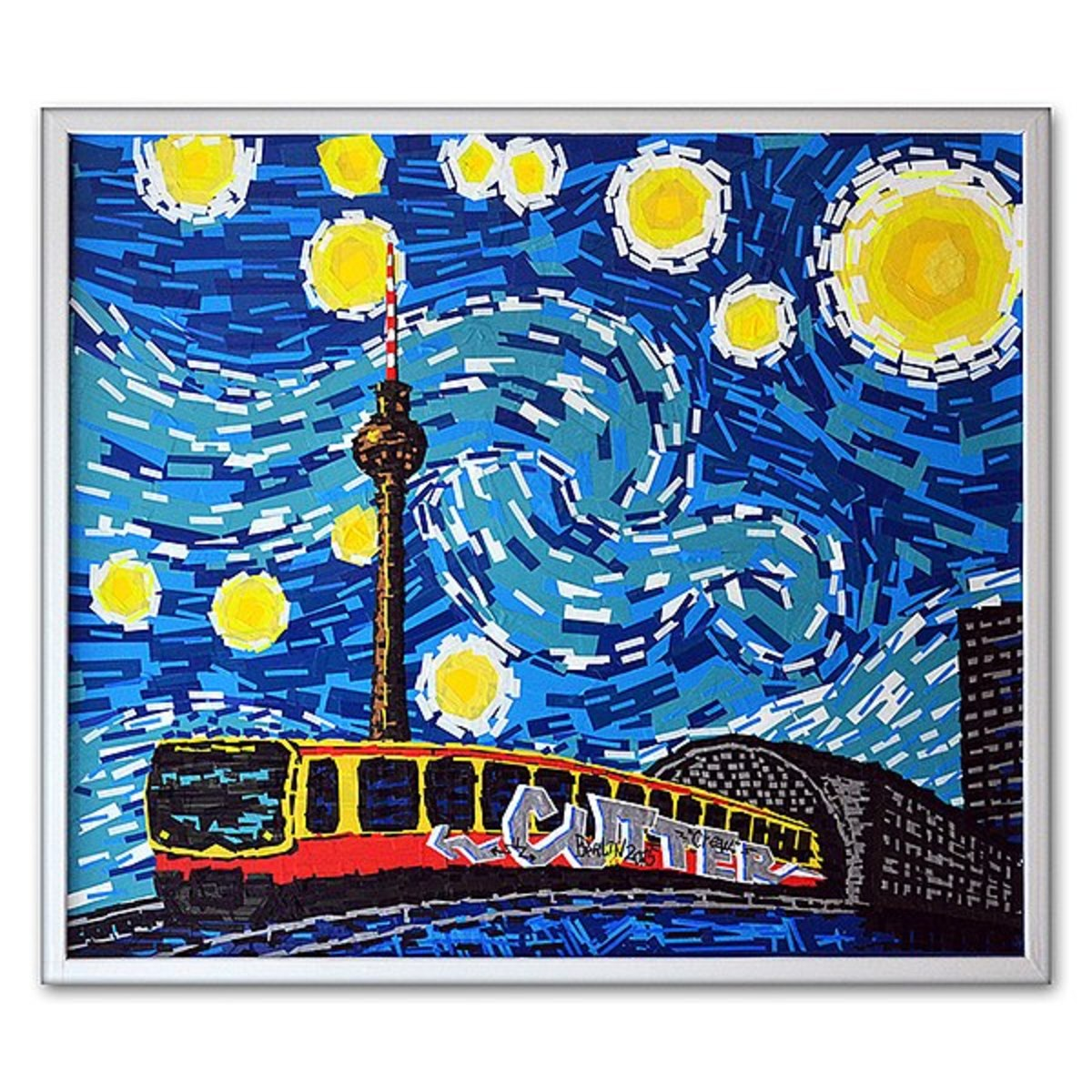 "Berlin starry night""- Tape art by Berlin-based tape artist Slava Ostap. Coloured. Berlin 2014."