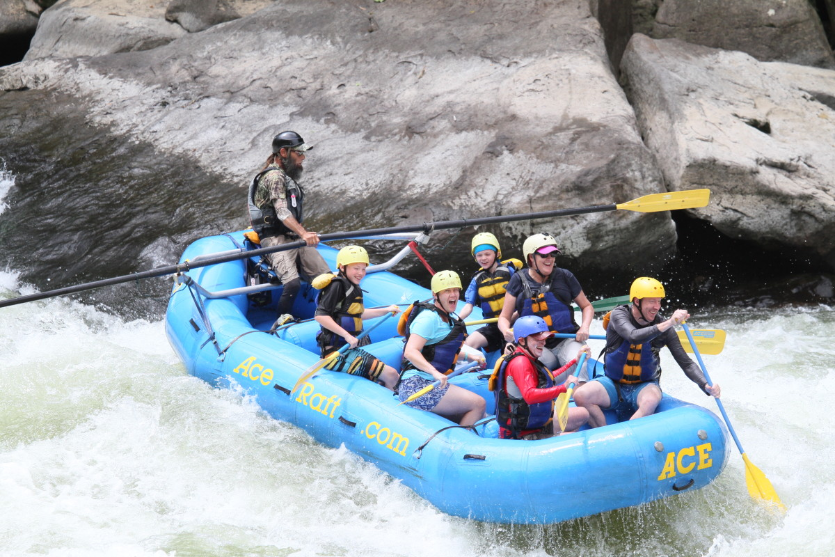 Rafting through Class V white water is one of the most exciting sports a family can experience. Kids as young as 9 years can participate in rafting trips on the lower New River.