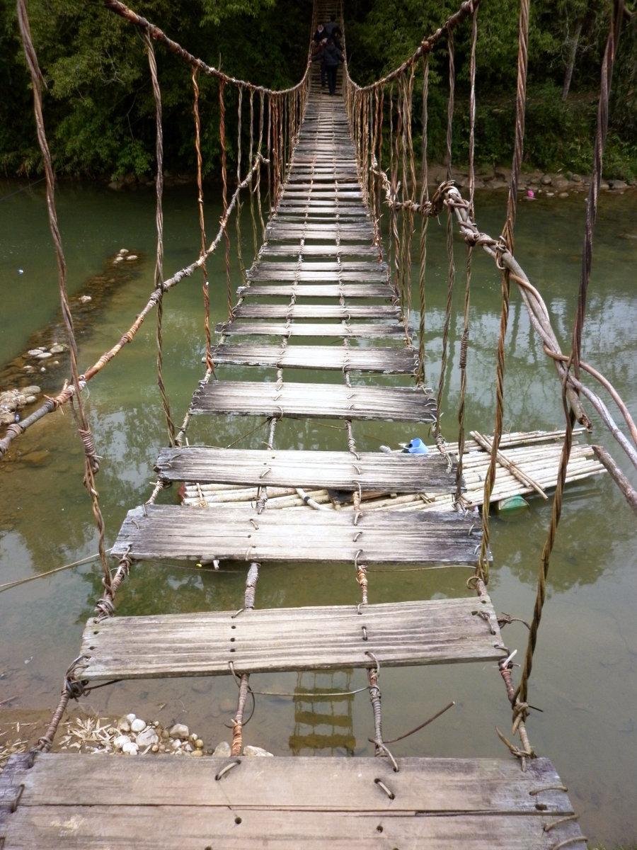 Over the bridge to adventure or certain doom.