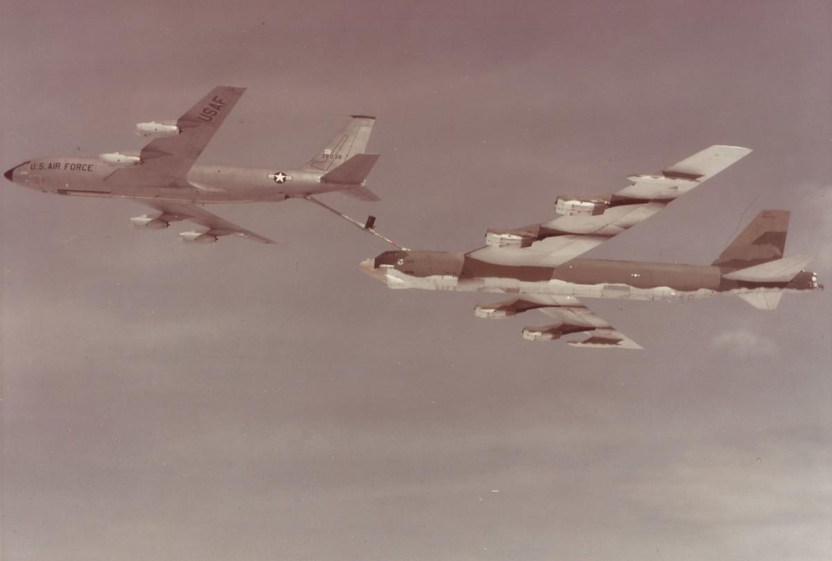 A KC-135 refueling a B-52, 1978.
