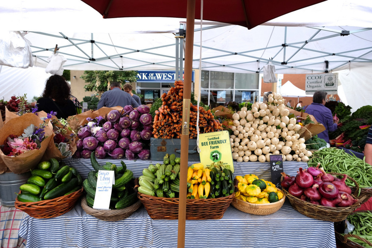 Shopping at your local farmer's market is a great way to eat local