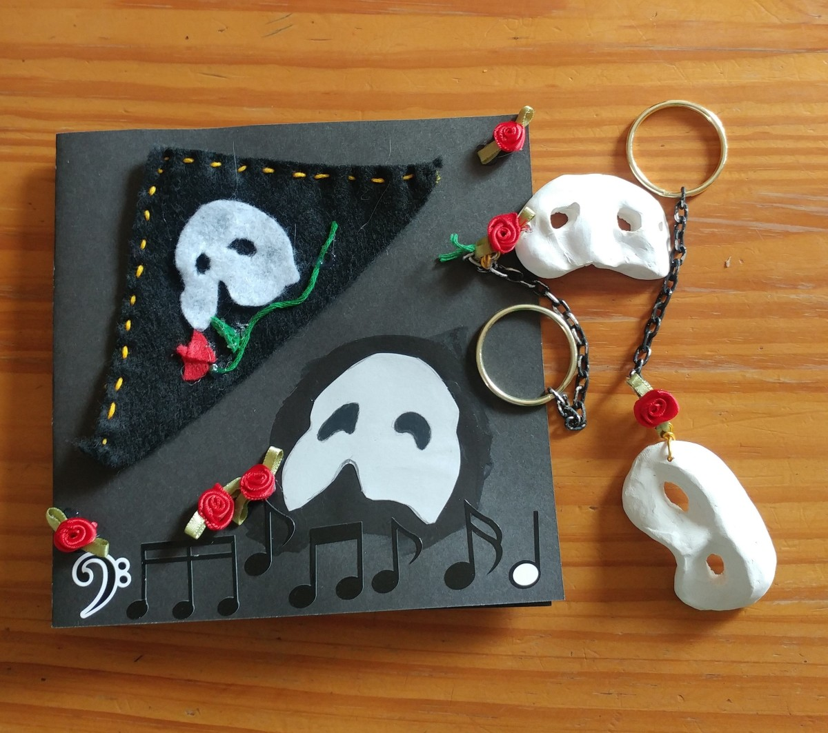 """The Phantom of the Opera"" Crafts: Keychain, Bookmark, Invitation Card"