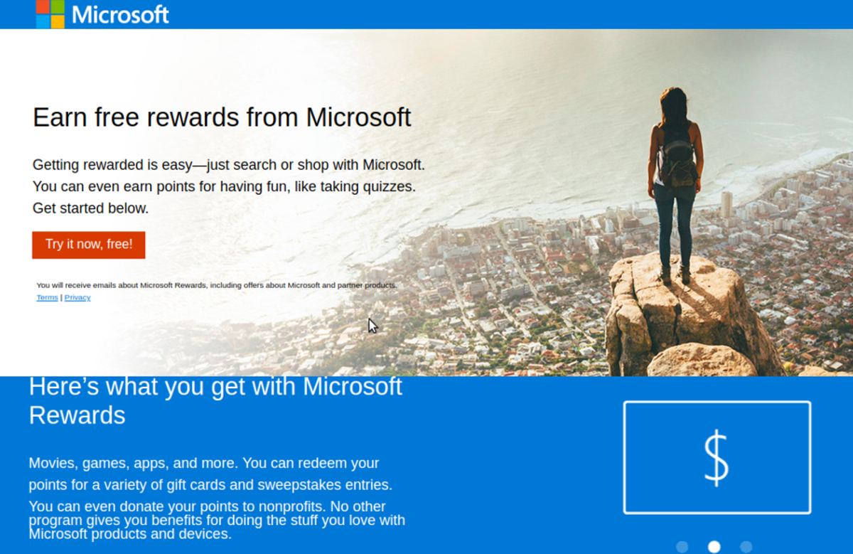 The Microsoft Rewards about me website.