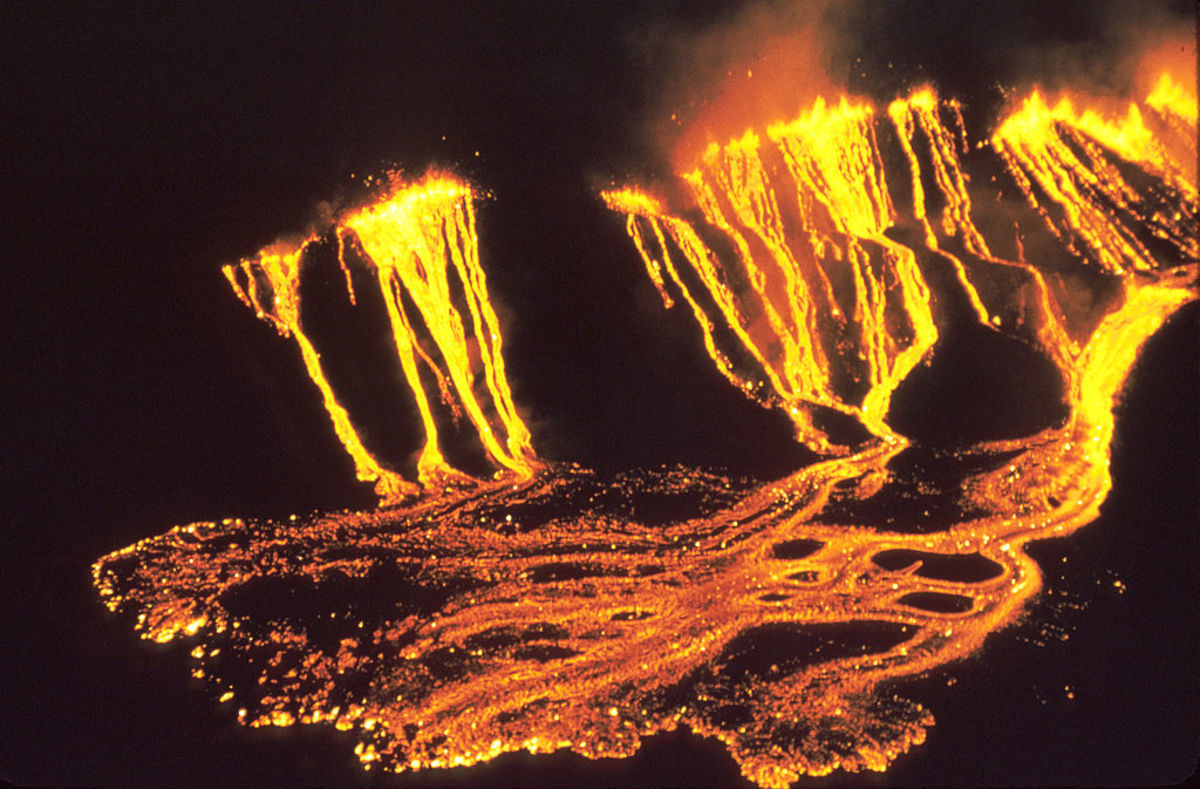 In 1959, Kilauea volcano in Hawaii produced some spectacular images, like this one here of its abundant and fertile lava flow.