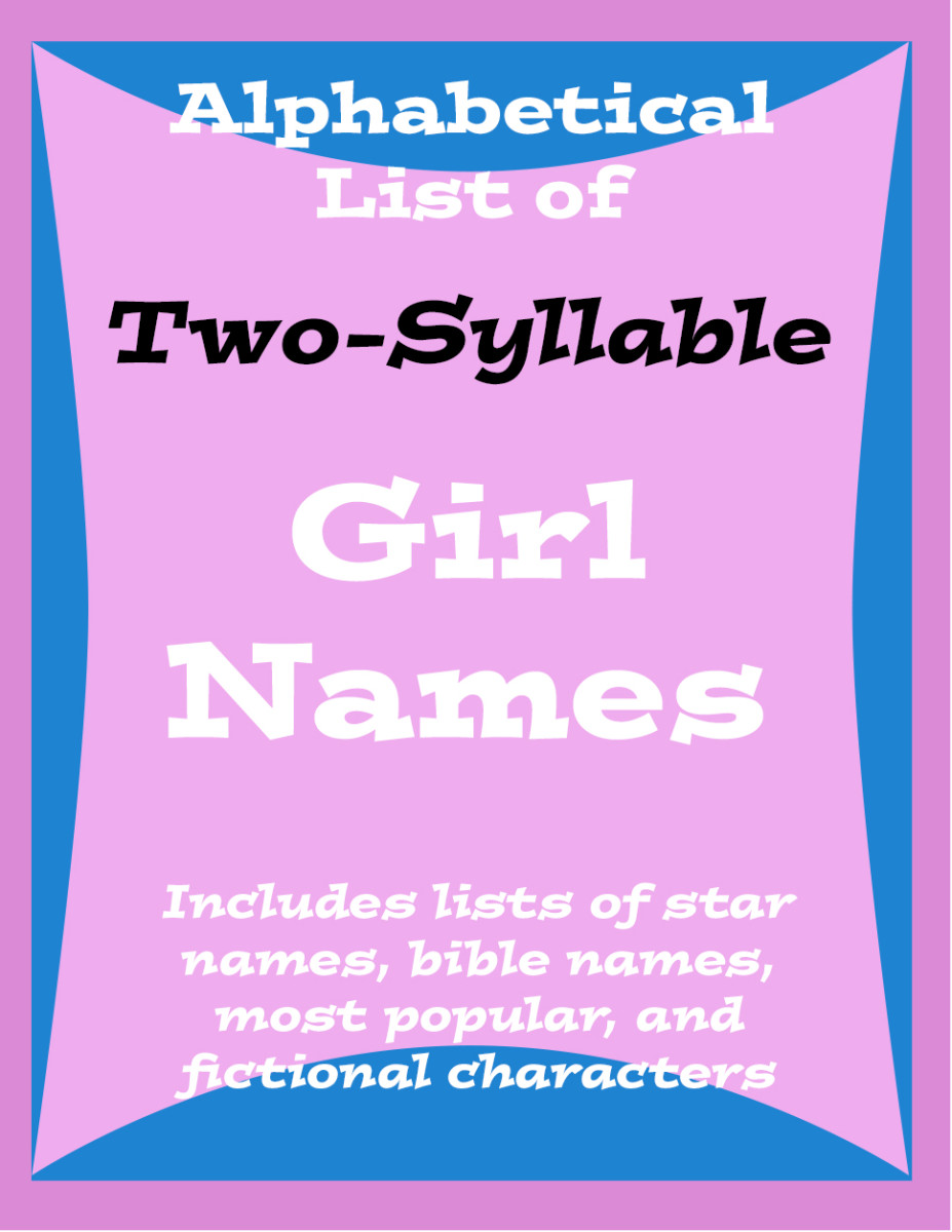 Trying to decide on a two-syllable name for your baby girl?  Here are loads of ideas to choose from.