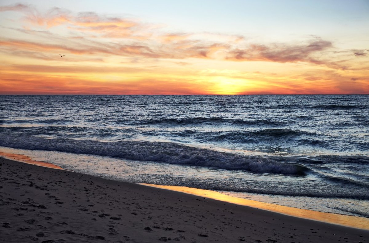 Pier Cove Beach Lake Michigan Sunset