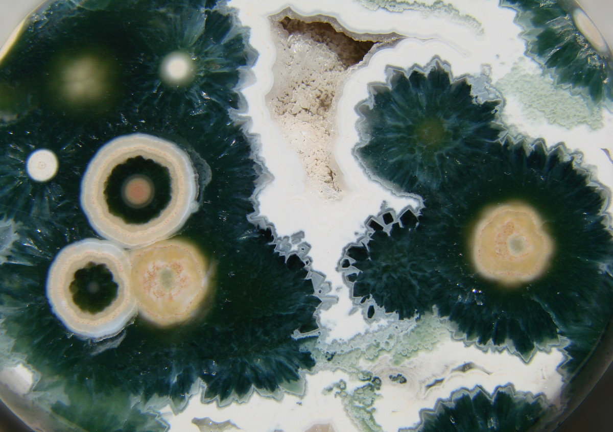 A close up shot of the intricate patterns found in ocean jasper.