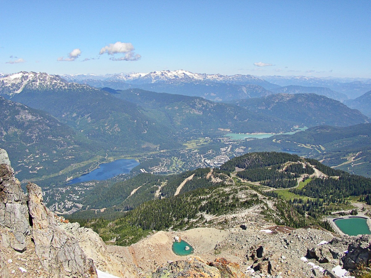 A view of Whistler (in the valley) and its surroundings from Whistler Mountain