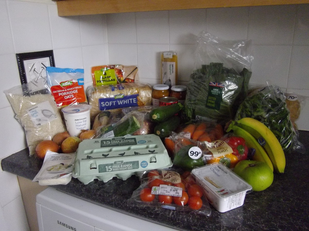 A weeks worth of food shopping for three meals a day for one pound.