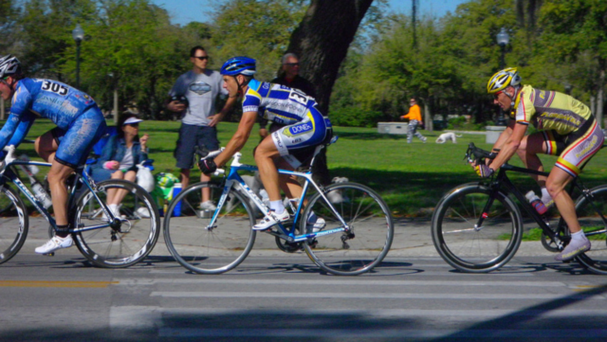 Cycling in a race.