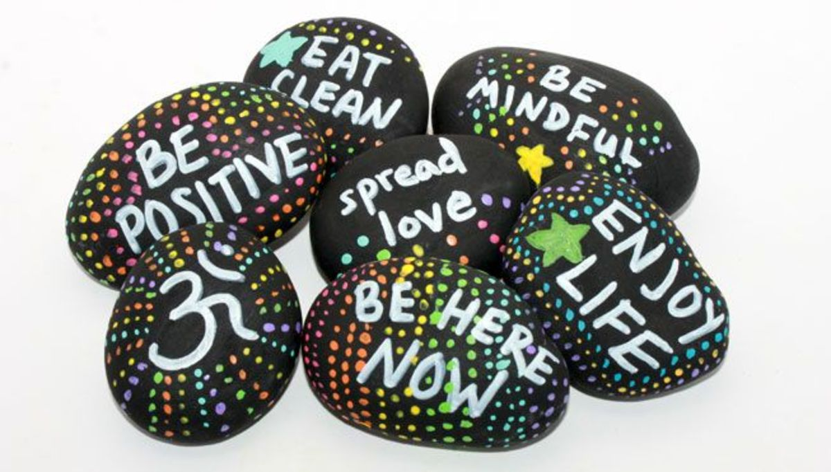 A pile of kindness rocks ready to go out in the world.