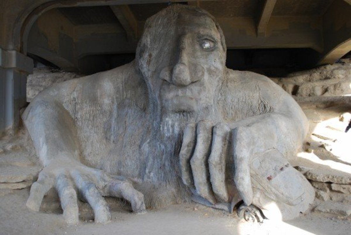 The Fremont Troll, bus in mighty hand.