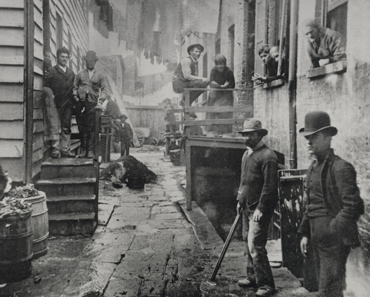 Manhattan's slums were a breeding ground for violent street gangs such as the Whyos.