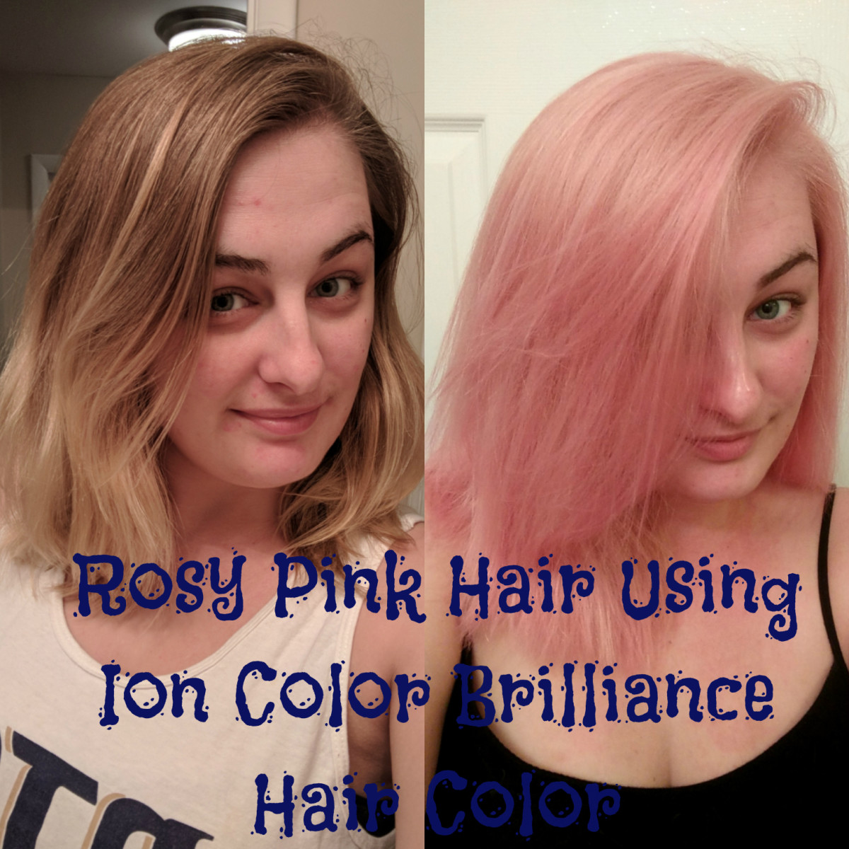 Before and after photos of my rosy pink hair.