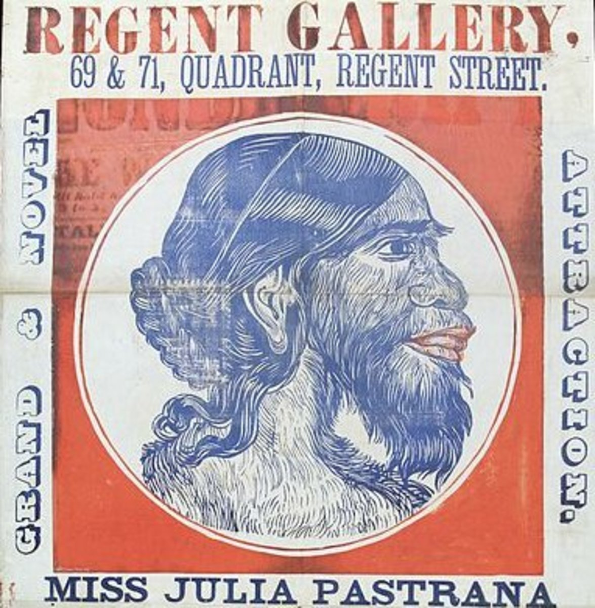 "A poster advertising ""Julia Pastrana, the nondescript"" at a show at the Regent Gallery in London, England."