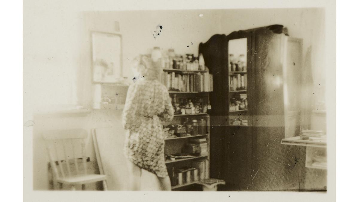 Me [Joy Hester] 1940 E. Melbourne George St. gelatin silver contact print, 4 x 5cm, photographer Albert Tucker