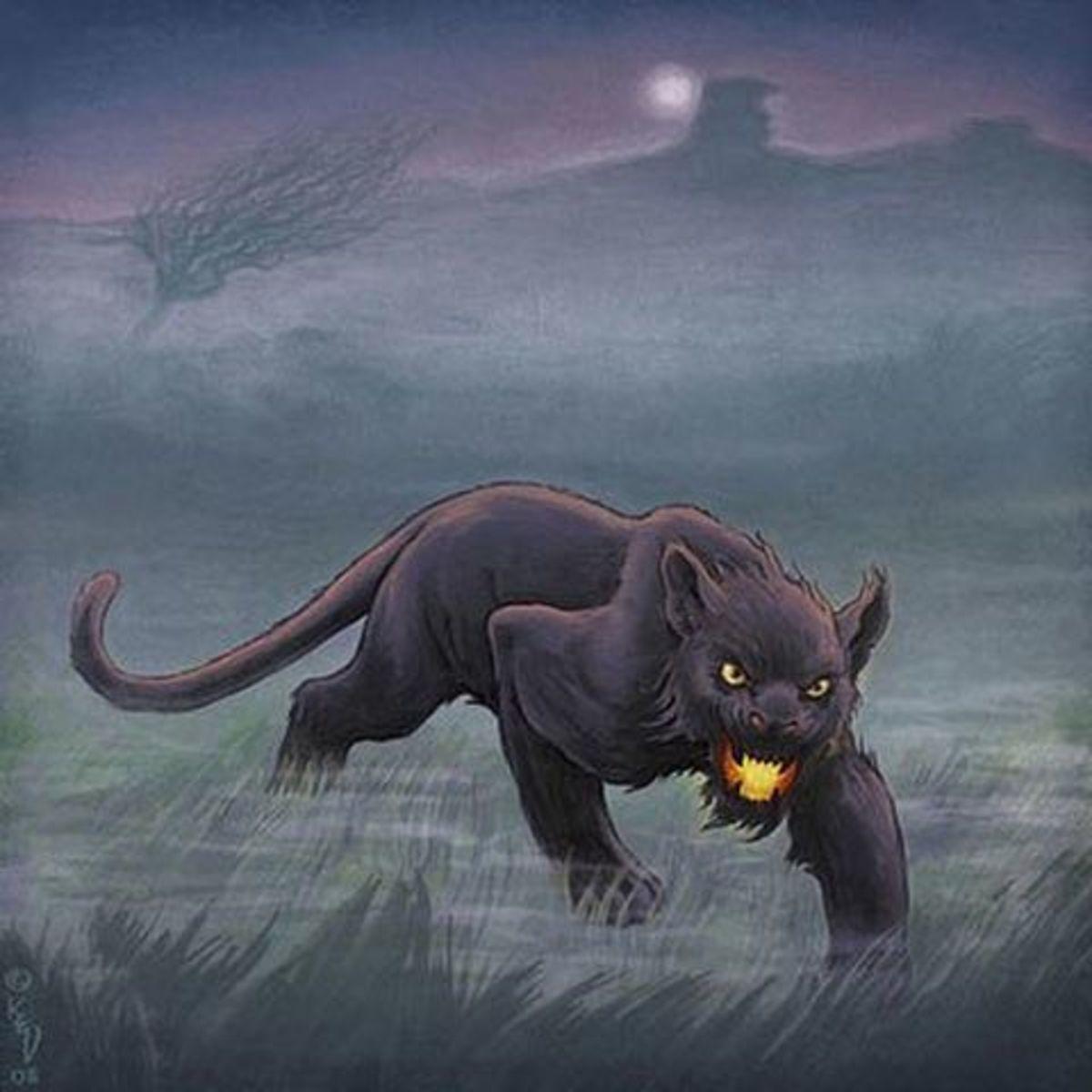 Artist's interpretation of the Beast of Bodmin Moor.