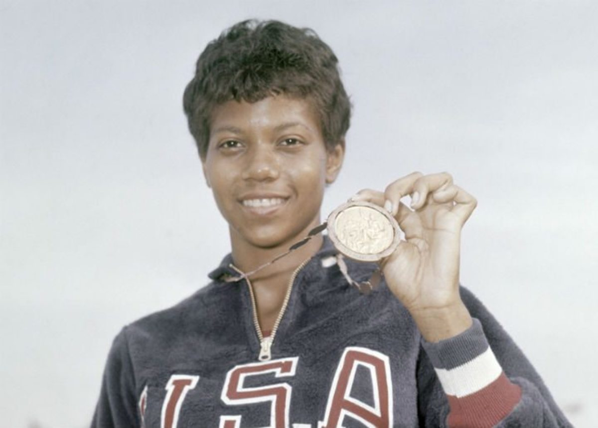 Wilma Rudolph with one of her three Olympic gold medals.