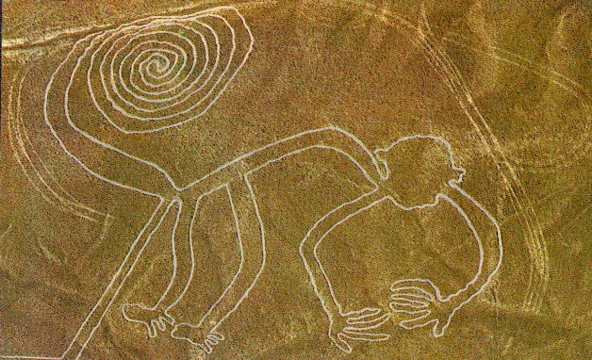 Monkey effigy in the Nazca Desert