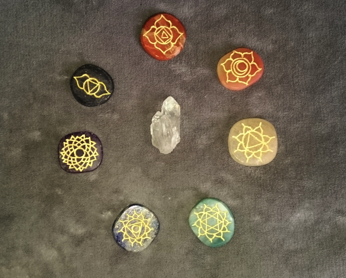 The chakras can be balanced using healing crystals.