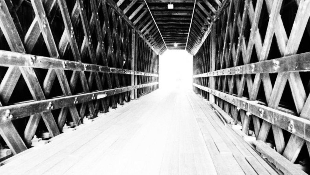 Walking inside the Contoocook Covered Bridge, Contoocook NH.
