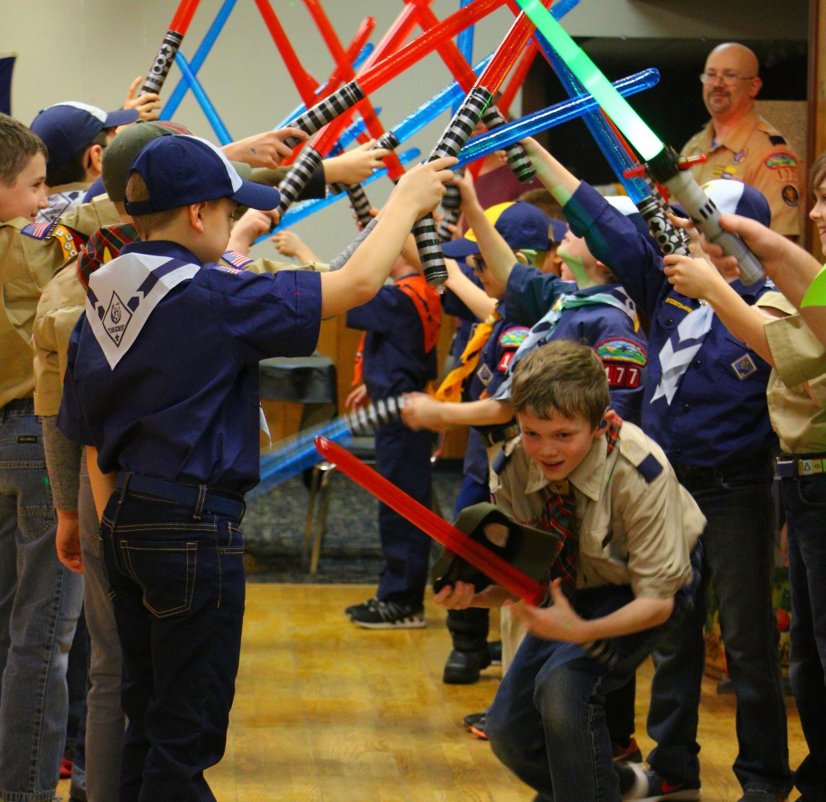 Crossing over to Boy Scouts - with Light Sabers!