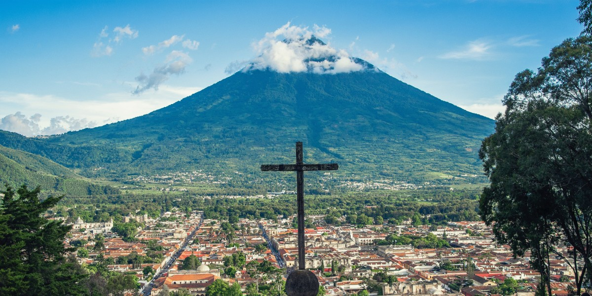 The Aqua Volcano near Antigua, Guatemala has been relatively quiet since the 1500s, when  the volcano erupted and sent a a hot mud flow down the slope, killing many in the Colonial settlement.