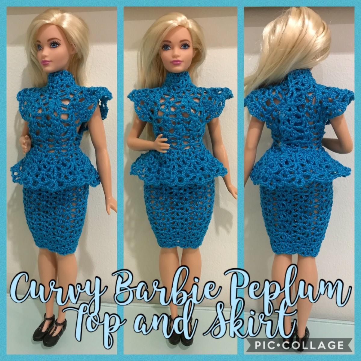 Curvy Barbie Peplum Top and Skirt (Free Crochet Pattern)