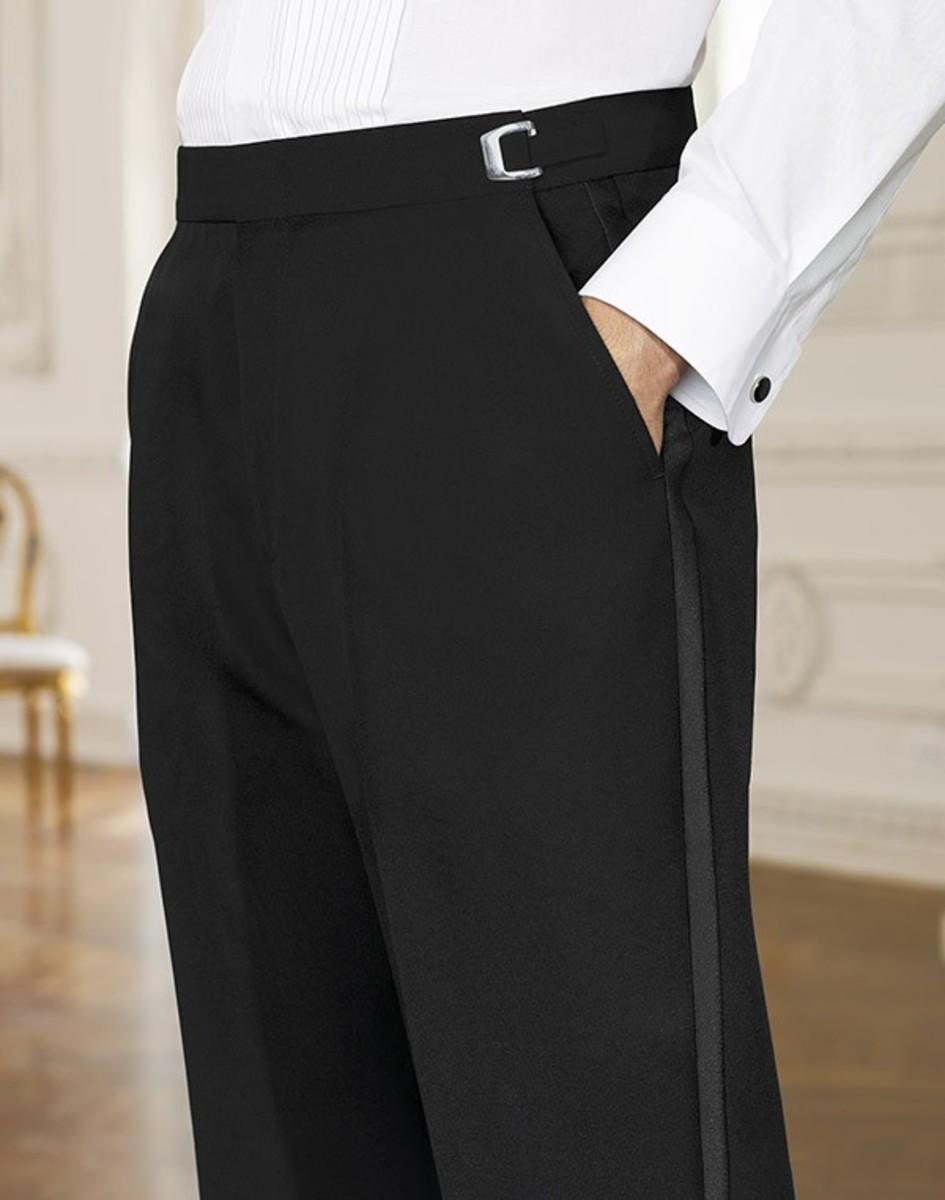 Black pants Travis wore on his wedding day.