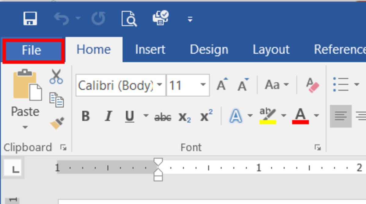 with ms word open click the file menu