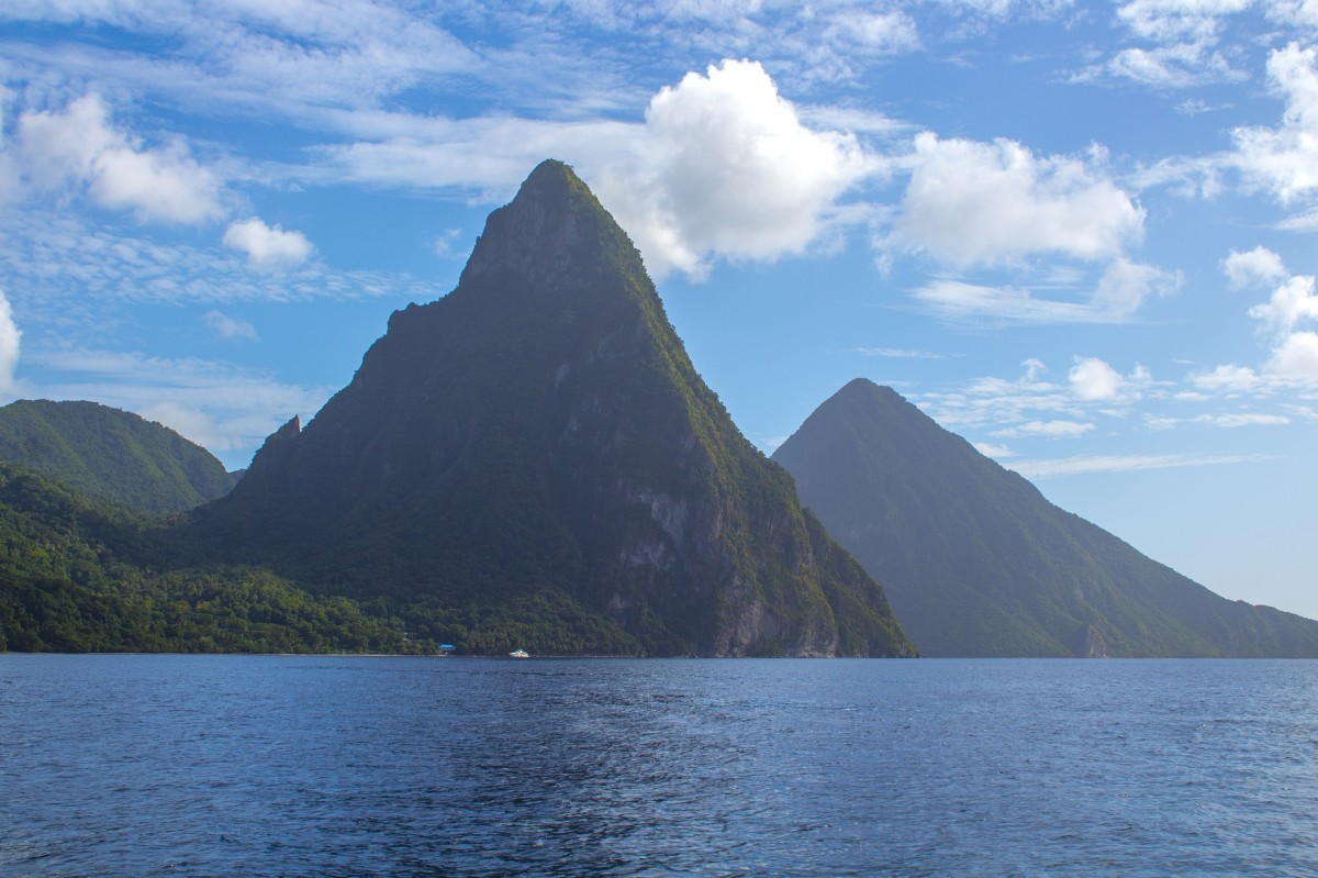 The twin Piton mountains of St. Lucia.  By Mimi S. via Pixabay, Public Domain.