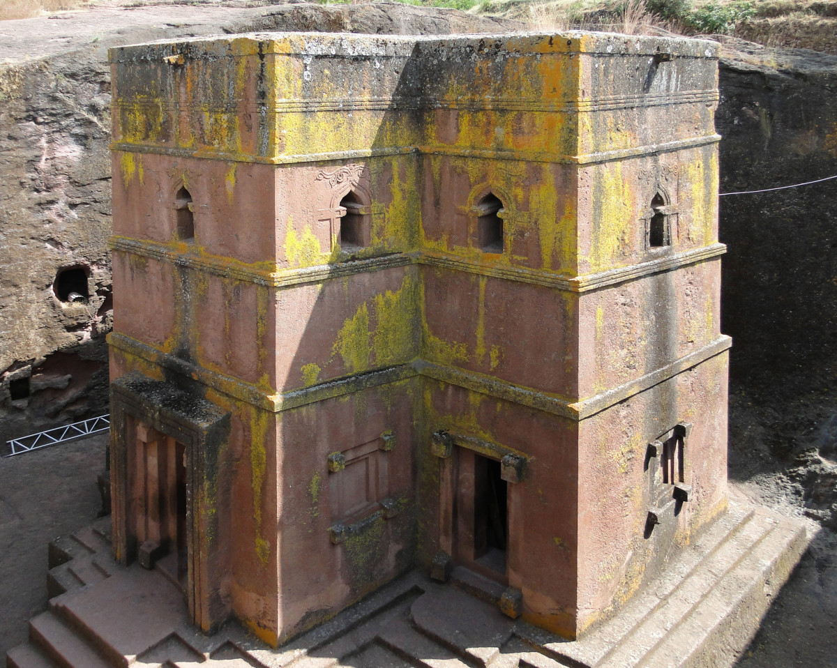 The Church of St. George, located in Lalibela, Ethiopia, is a pristine example of an Ethiopian Monolithic Church.