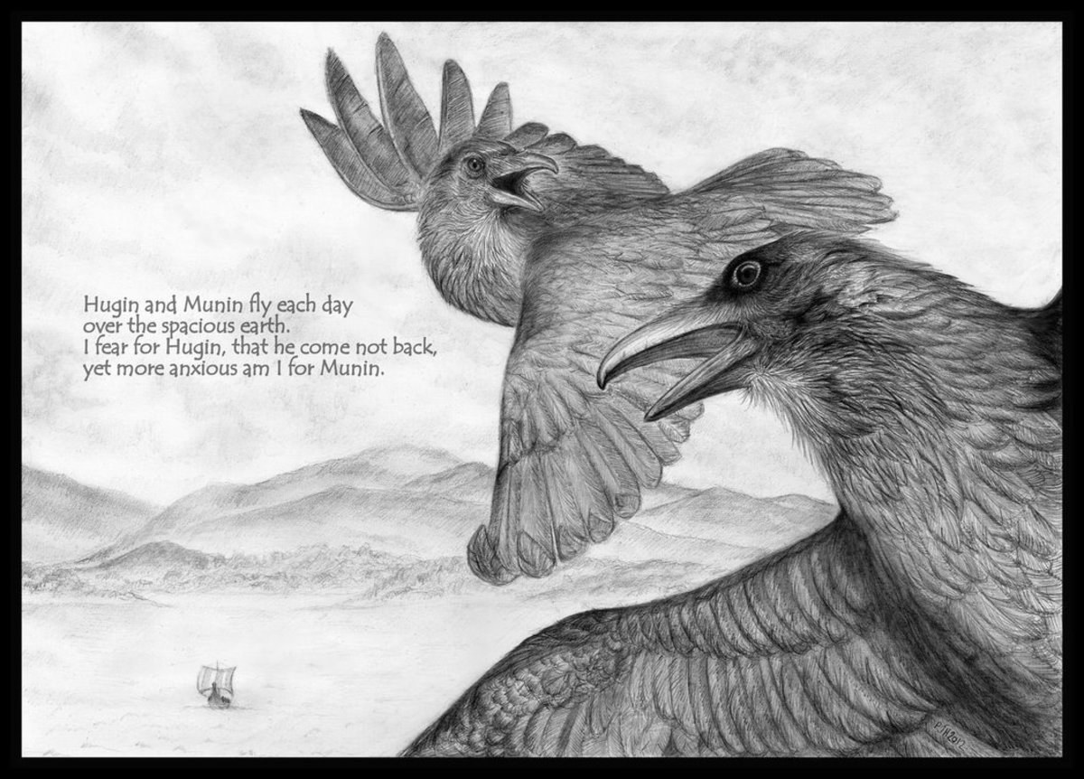 Huginn and Muninn: The Divine Ravens of Odin